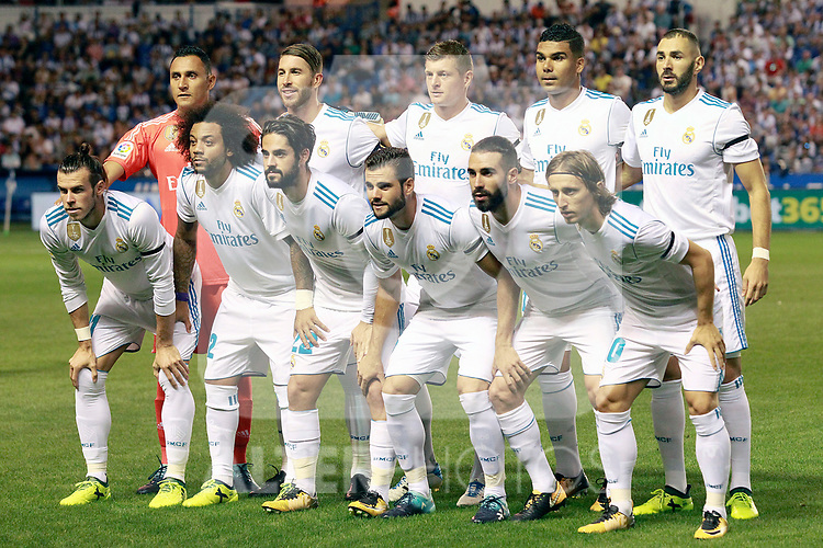 Real Madrid's team photo with Keylor Navas, Sergio Ramos, Toni Kroos, Carlos Henrique Casemiro, Karim Benzema, Gareth Bale, Marcelo Vieira, Isco Alarcon, Nacho Fernandez, Daniel Carvajal and Luka Modric during La Liga match. August 20,2017. (ALTERPHOTOS/Acero)