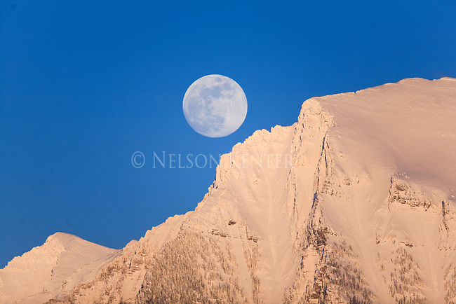 Full moon rising over the Mission Mountains