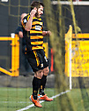 Alloa's Liam Buchanan celebrates after he scores their first goal.