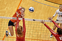 SAN ANTONIO, TX - SEPTEMBER 6, 2019: The University of Houston Cougars defeat the University of Texas at San Antonio Roadrunners 3-1 (19-25, 25-19, 25-21, 25-21) at the UTSA Convocation Center. (Photo by Jeff Huehn)