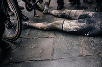 An exhausted Wout Van Aert (BEL/Veranda's Willems-Crelan) crashes to the ground after racing incredibly strong in his very first Strade Bianche & finishing 3rd<br /> <br /> 12th Strade Bianche 2018<br /> Siena > Siena: 184km (ITALY)