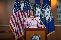 Speaker of the United States House of Representatives Nancy Pelosi (Democrat of California), holds a press conference and offers remarks about the stimulus bill and unemployment benefits currently in limbo, at the US Capitol in Washington, DC., Friday, July 31, 2020. <br /> Credit: Rod Lamkey / CNP /MediaPunch