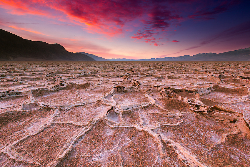 Sunrise on the salt flats of Badwater, Death Valley National Park