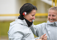20191107 - Zapresic , BELGIUM : Belgian assistant coach Tamara Cassimon pictured with a red nose on her ears during a Matchday -1 training session before a  female soccer game between the womensoccer teams of  Croatia and the Belgian Red Flames , the third women football game for Belgium in the qualification for the European Championship round in group H for England 2021, Thursday 7 th october 2019 at the NK Inter Zapresic stadium near Zagreb , Croatia .  PHOTO SPORTPIX.BE | DAVID CATRY