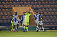 Jayden Stockley of Exeter City holds his head in his hands after drilling his free kick slightly wide and high during Colchester United vs Exeter City, Sky Bet EFL League 2 Football at the JobServe Community Stadium on 24th November 2018