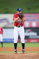 Danville Braves starting pitcher Mike Soroka (22) looks to his catcher for the sign against the Pulaski Yankees at Legion Field on August 7, 2015 in Danville, Virginia.  The Yankees defeated the Braves 3-2. (Brian Westerholt/Four Seam Images)