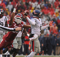 NWA Media/Michael Woods --11/22/2014-- w @NWAMICHAELW...University of Arkansas defensive end Trey Flowers puts the pressure on Ole Miss quarterback Ryan Buchanan in the 2nd quarter of Arkansas 30-0 win over Ole Miss during Saturdays game at Razorback Stadium.