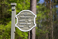 The 10th tee sign at the second round of the Augusta National Woman's Amateur 2019, Champions Retreat, Augusta, Georgia, USA. 04/04/2019.<br /> Picture Fran Caffrey / Golffile.ie<br /> <br /> All photo usage must carry mandatory copyright credit (&copy; Golffile | Fran Caffrey)