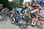 The peloton including Nairo Quintana (COL) Movistar Team climb the Muur in Geraardsbergen during Stage 1 of the 2019 Tour de France running 194.5km from Brussels to Brussels, Belgium. 6th July 2019.<br /> Picture: Colin Flockton | Cyclefile<br /> All photos usage must carry mandatory copyright credit (© Cyclefile | Colin Flockton)