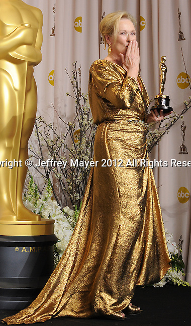 HOLLYWOOD, CA - FEBRUARY 26: Meryl Streep poses in the press room at the 84th Annual Academy Awards held at Hollywood & Highland Center on February 26, 2012 in Hollywood, California.