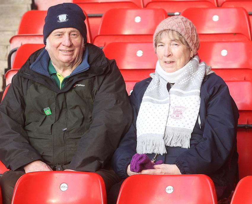 Preston North End's Fans anticipate the kick-off<br /> <br /> Photographer Mick Walker/CameraSport<br /> <br /> The EFL Sky Bet Championship - Nottingham Forest v Preston North End - Saturday 8th December 2018 - The City Ground - Nottingham<br /> <br /> World Copyright © 2018 CameraSport. All rights reserved. 43 Linden Ave. Countesthorpe. Leicester. England. LE8 5PG - Tel: +44 (0) 116 277 4147 - admin@camerasport.com - www.camerasport.com