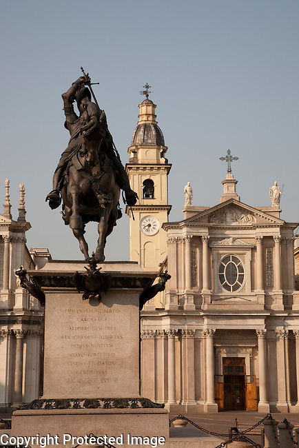 St Carlo Square and Church in Turin - Torino, Italy