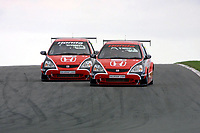 Round 10 of the 2002 British Touring Car Championship. #28 Andy Priaulx (GBR) & #27 Alan Morrison (GBR). Honda Racing. Honda Civic Type-R.