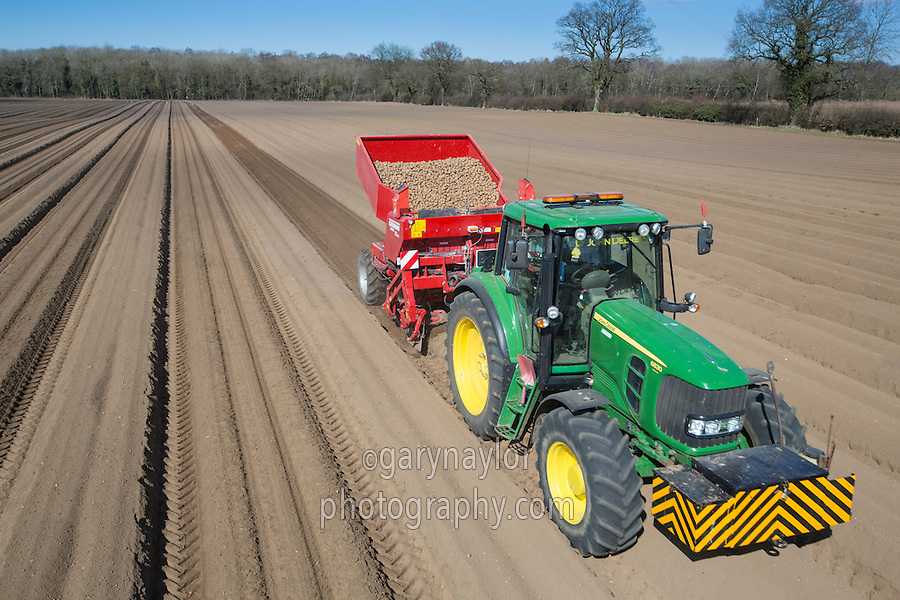 Planting Maris Peer potatoes with a Grimme GB330 two row planter - April, Norfolk