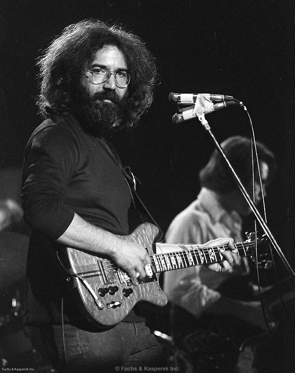 Jerry Garcia performs with the Grateful Dead at a concert in St. Louis in 1973