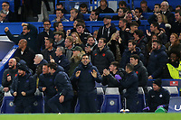 Chelsea coaching staff and substitutes celebrate their fourth goal during Chelsea vs AFC Ajax, UEFA Champions League Football at Stamford Bridge on 5th November 2019
