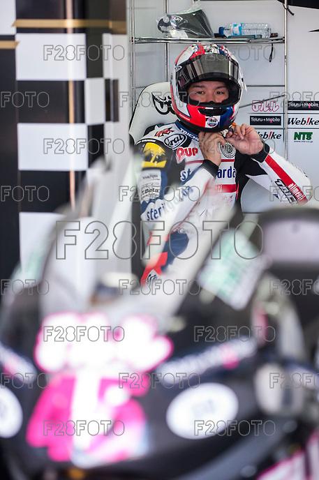 Tetsuta Nagashima in his box at pre season winter test IRTA Moto3 & Moto2 at Ricardo Tormo circuit in Valencia (Spain), 11-12-13 February 2014
