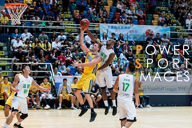 Hosford Ian Daniel #5 of Winling Basketball Club goes to the basket against the Tycoon during the Hong Kong Basketball League playoff game between Tycoon and Winling at Queen Elizabeth Stadium on July 27, 2018 in Hong Kong. Photo by Yu Chun Christopher Wong / Power Sport Images