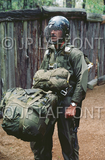 April 1982. Fort Bragg, NC. The Forest Jumper, one of the five Special Force units.