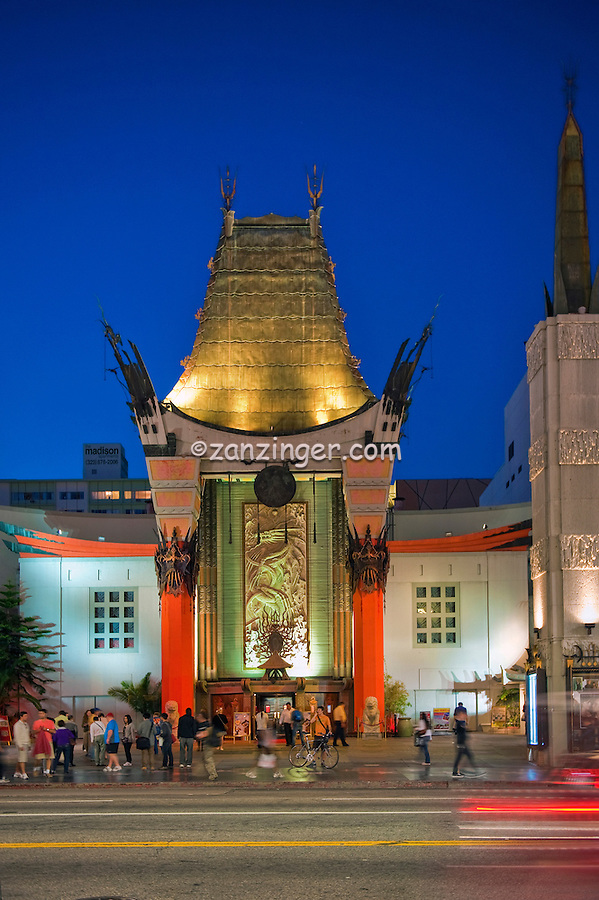 Grauman's Chinese Theater, Hollywood Ca. Boulevard, Night, Dusk, Royal Blue Sky,  Lights, reflections High dynamic range imaging (HDRI or HDR) ,Vertical image
