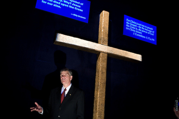 Thursday, May 31, Charlotte, North Carolina. Dedication of the new Billy Graham Library in Charlotte, North Carolina.. Billy Graham's son, Franklin, visits exhibits in  the new library with members of the press. Billy Graham  says the library is about the cross, not him.