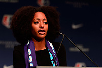 Philadelphia, PA - Thursday January 18, 2018: Nadia Gomes during the 2018 NWSL College Draft at the Pennsylvania Convention Center.
