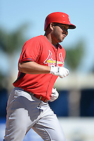 St. Louis Cardinals shortstop Jhonny Peralta (27) runs the bases after hitting a home run during a spring training game against the Detroit Tigers on March 3, 2014 at Joker Marchant Stadium in Lakeland, Florida.  Detroit defeated St. Louis 8-5.  (Mike Janes/Four Seam Images)