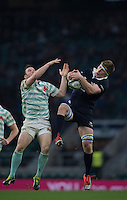 Twickenham, United Kingdom. {L} Cambridge's, Tom STANLEY, challenges, Oxfords, Will WILSON, during the  Men's Varsity Rugby, [Oxford vs Cambridge],Twickenham. UK, at the RFU Stadium, Twickenham, England, <br /> <br /> Thursday  08/12/2016<br /> <br /> [Mandatory Credit; Peter Spurrier/Intersport-images]