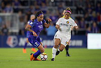 Orlando, FL - Saturday March 24, 2018: Orlando Pride forward Sydney Leroux (2) is pressured by Utah Royals midfielder Desiree Scott (11) during a regular season National Women's Soccer League (NWSL) match between the Orlando Pride and the Utah Royals FC at Orlando City Stadium. The game ended in a 1-1 draw.
