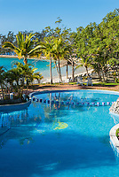 Honduras, Roatan Island, Fantasy Island Resort, Caribbean. Hotel pool and beach.