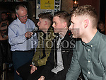 Gerry Kelly interviews players Gareth McCaffrey and goalkeeper Stephen McGuinness at the Drogheda United meet and greet night in Mother Hughes's. Photo:Colin Bell/pressphotos.ie