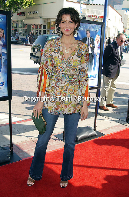 "Angie Harmon arriving at the "" Agent Cody Banks Premiere "" at the Westwood Village Theatre in Los Angeles. March 8, 2003."