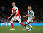 Arsenal's Rob Holding tussles with Sunderland's Sebastian Larsson during the Premier League match at the Emirates Stadium, London. Picture date: May 16th, 2017. Pic credit should read: David Klein/Sportimage
