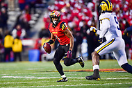 College Park, MD - NOV 11, 2017: Maryland Terrapins wide receiver D.J. Moore (1) looks to throw the ball downfield to Maryland Terrapins quarterback Ryan Brand (16) during game between Maryland and Michigan at Capital One Field at Maryland Stadium in College Park, MD. (Photo by Phil Peters/Media Images International)