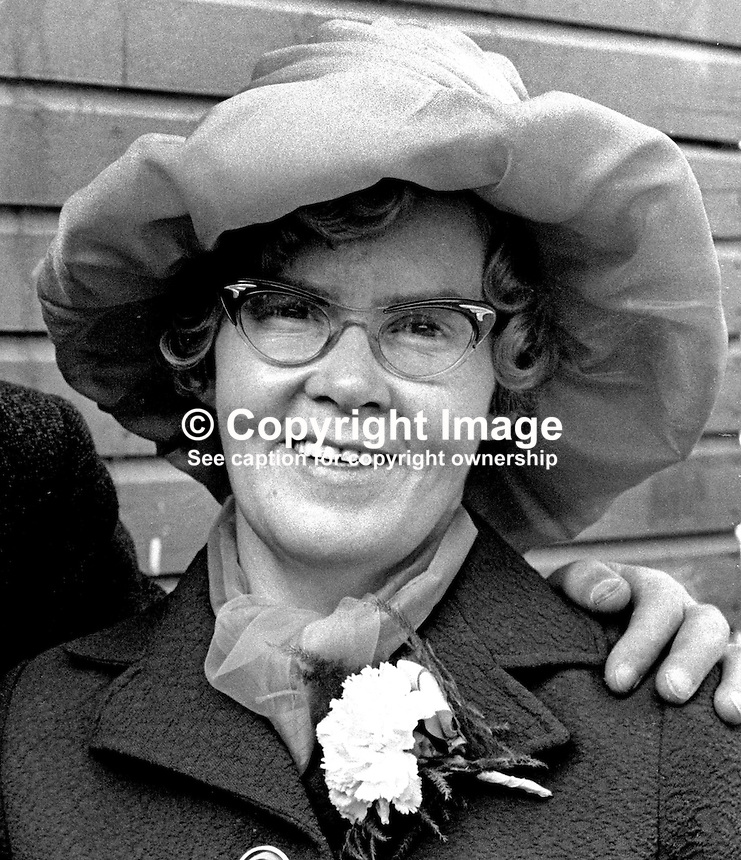 Mary McGuigan, prominent member, Provisional Sinn Fein, pictured 26th August 1972 at a family wedding in Belfast, N Ireland. 197208260446MMG<br /> <br /> Copyright Image from Victor Patterson, 54 Dorchester Park, Belfast, UK, BT9 6RJ<br /> <br /> t1: +44 28 9066 1296 (from Rep of Ireland 048 9066 1296)<br /> t2: +44 28 9002 2446 (from Rep of Ireland 048 9002 2446)<br /> m: +44 7802 353836<br /> <br /> e1: victorpatterson@me.com<br /> e2: victorpatterson@gmail.com<br /> <br /> The use of my copyright images is subject to my Terms &amp; Conditions.<br /> <br /> It is IMPORTANT that you familiarise yourself with them. They are available on my website at www.victorpatterson.com.<br /> <br /> None of my copyright images may be used on a website unless they are visibly watermarked, i.e. &copy; Victor Patterson within the body of the visible image. Metadata denoting my copyright must NOT be deleted. <br /> <br /> Web use is extra at currently recommended NUJ rates.