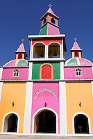 Brightly painted Mexican church at Herbolaria Beto Ram—n, Aguacatitla, Axtla de Terrazas, San Luis Potosi, Mexico