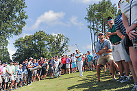 Satoshi Kodaira (JPN) hits his approach shot on 7 from the gallery during Saturday's round 3 of the PGA Championship at the Quail Hollow Club in Charlotte, North Carolina. 8/12/2017.<br /> Picture: Golffile | Ken Murray<br /> <br /> <br /> All photo usage must carry mandatory copyright credit (&copy; Golffile | Ken Murray)