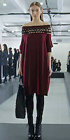 "Catherine Malandrino Fall/Winter 2013, LE NORMANDIE, KRISTINA K: BURGUNDY OFF-SHOULDER CASHMERE SWEATER DRESS/ ""BASTILLE"" TOTE"