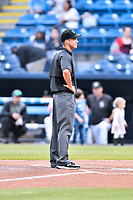 Umpire Jude Koury before a game between the Rome Braves and the Asheville Tourists at McCormick Field on May 22, 2017 in Asheville, North Carolina. The Braves defeated the Tourists 7-3. (Tony Farlow/Four Seam Images)