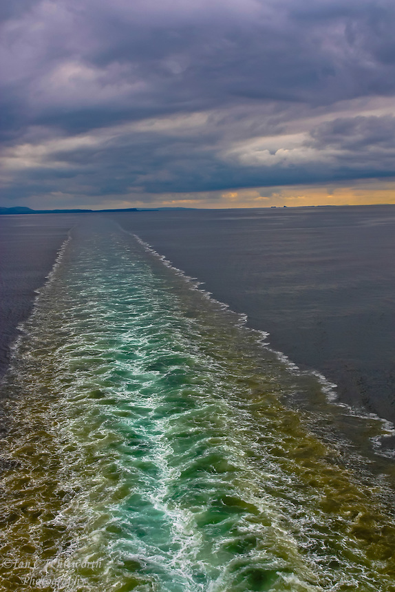 Looking at the wake left behind a cruise ship in the North Sea with an interesting sky