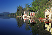 lake, cottages, summer, West Barnet, VT, Vermont, Reflection of summer cottages along Harveys Lake in West Barnet in the spring.