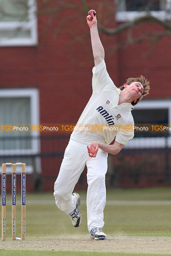 Oliver Bocking in bowling action for Essex - Cambridgeshire CCC vs Essex CCC 2nd XI - Cricket Friendly Match at Fenners Cricket Ground, University of Cambridge - 03/04/13 - MANDATORY CREDIT: Gavin Ellis/TGSPHOTO - Self billing applies where appropriate - 0845 094 6026 - contact@tgsphoto.co.uk - NO UNPAID USE.