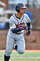 Danville Braves catcher William Contreras (24) runs to first base during a game against the  Johnson City Cardinals at TVA Credit Union Ballpark on July 23, 2017 in Johnson City, Tennessee. The Cardinals defeated the Braves 8-5. (Tony Farlow/Four Seam Images)