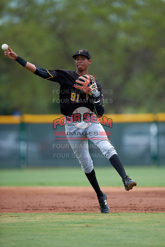 Pittsburgh Pirates Alfredo Reyes (91) during a minor league Spring Training game against the Toronto Blue Jays on March 24, 2016 at Pirate City in Bradenton, Florida.  (Mike Janes/Four Seam Images)
