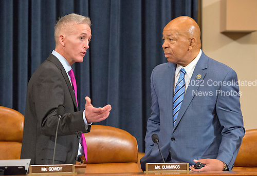 United States Representative Trey Gowdy (Republican of South Carolina), Chairman, and US Representative Elijah Cummings (Democrat of Maryland), Ranking Member, US House Select Committee on Benghazi, have a discussion prior to receiving testimony from former US Secretary of State Hillary Rodham Clinton, a candidate for the 2016 Democratic Party nomination for President of the United States, on Capitol Hill in Washington, DC on Thursday, October 22, 2015.<br /> Credit: Ron Sachs / CNP