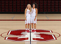 STANFORD, CA - September, 20, 2016: The 2016-2017 Stanford Women's Basketball Team. Brittany McPhee, Kaylee Johnson.