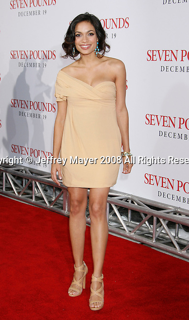 "WESTWOOD, CA. - December 16: Actress Rosario Dawson arrives at the Los Angeles premiere of ""Seven Pounds"" at Mann's Village Theater on December 16, 2008 in Los Angeles, California."