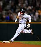 12 September 2008: Cleveland Indians' outfielder Shin-Soo Choo rounds second after hitting a home run against the Kansas City Royals at Progressive Field in Cleveland, Ohio. The Indians defeated the Royals 12-5 in the first game of their 4-game series...Mandatory Photo Credit: Ed Wolfstein Photo