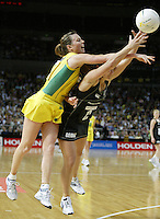 Silver Ferns Temepara George and Australian Natalie Von Bertouch compete during the netball test match between the Silver Ferns v Australia played at the Sydney Superdome, Sydney Australia, 29th June 2005. The Silver Ferns won 50-43. ©Michael Bradley