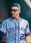 14 April 2018: Colorado Rockies first baseman Ian Desmond walks the dugout prior to a game against the Washington Nationals at Nationals Park in Washington, DC. The Nationals rallied to defeat the Rockies 6-2 in the 3rd game of their 4-game series. Mandatory Credit: Ed Wolfstein Photo *** RAW (NEF) Image File Available ***
